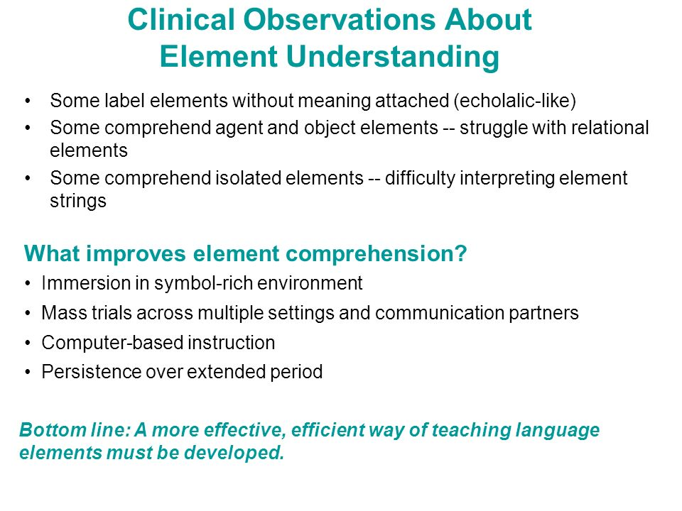 Clinical Observations About Element Understanding