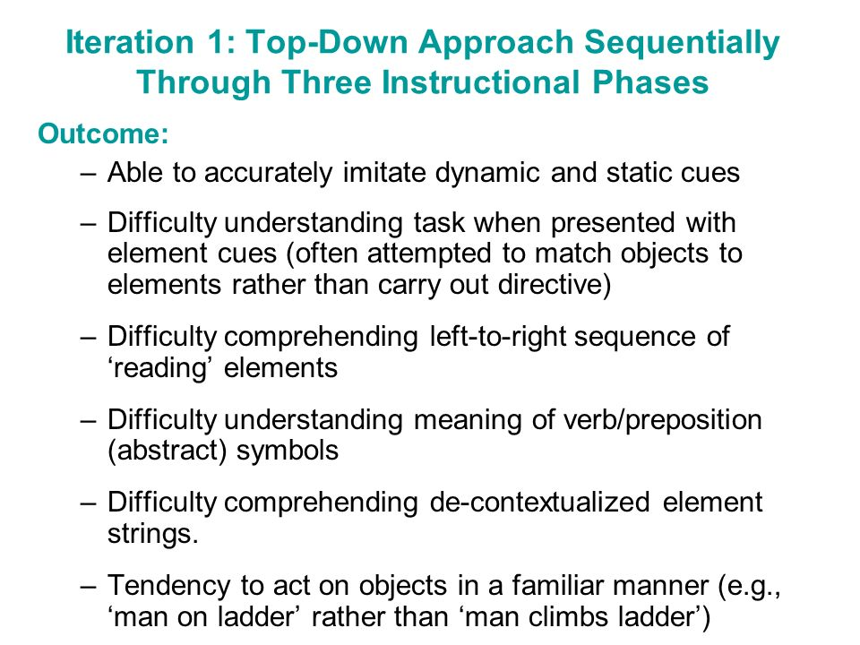 Iteration 1: Top-Down Approach Sequentially Through Three Instructional Phases