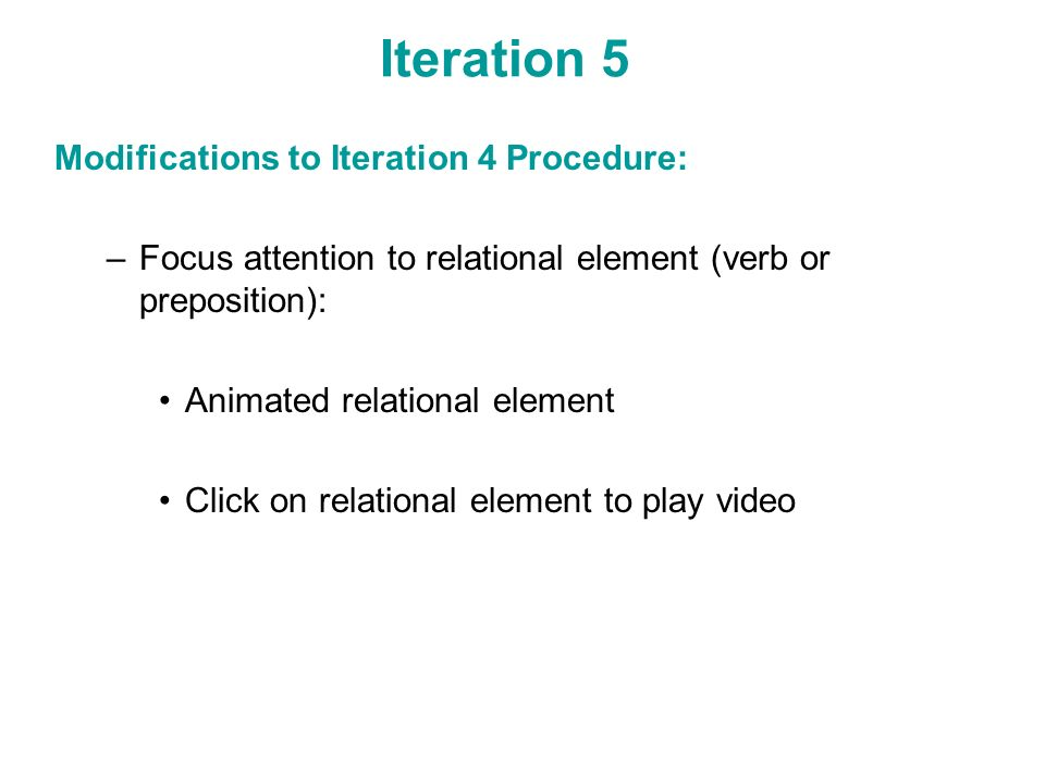 Iteration 5 Modifications to Iteration 4 Procedure: