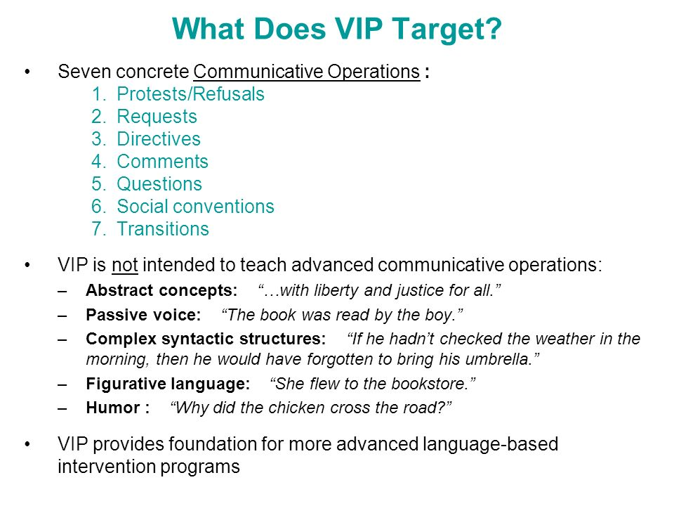 What Does VIP Target Seven concrete Communicative Operations :