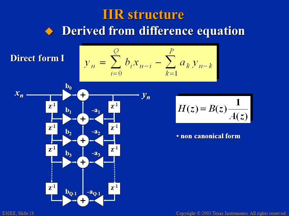 IIR structure Derived from difference equation Direct form I xn yn b0