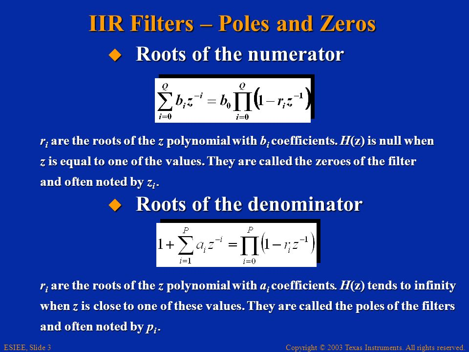IIR Filters – Poles and Zeros