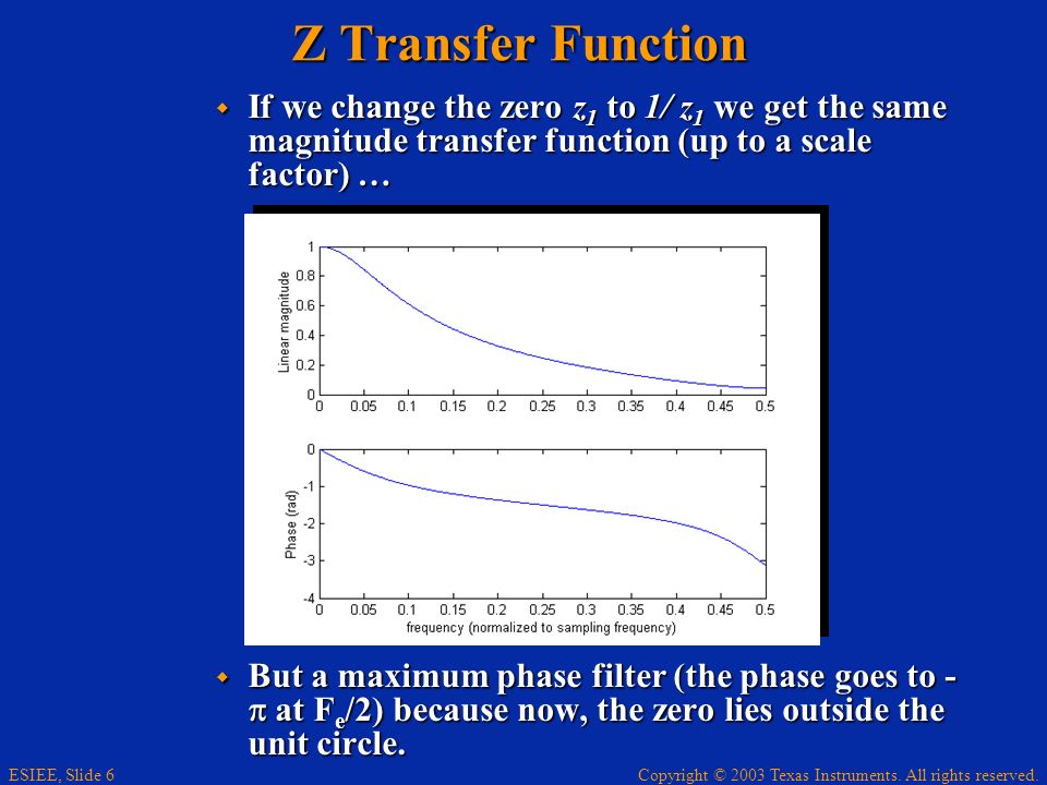 Z Transfer Function If we change the zero z1 to 1/ z1 we get the same magnitude transfer function (up to a scale factor) …