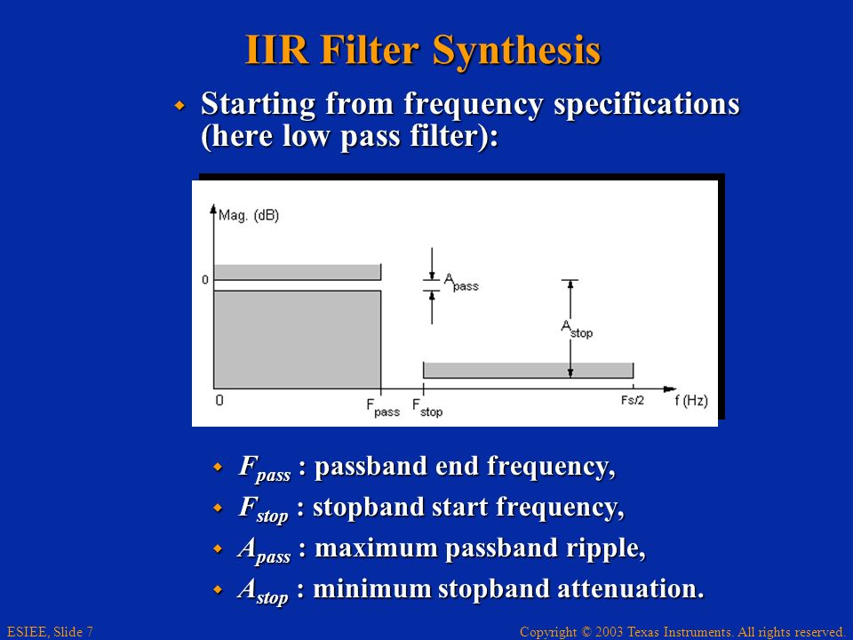 IIR Filter Synthesis Starting from frequency specifications (here low pass filter): Fpass : passband end frequency,