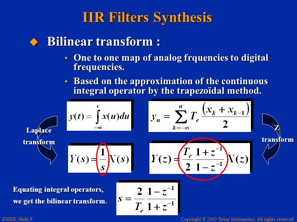 IIR Filters Synthesis Bilinear transform :