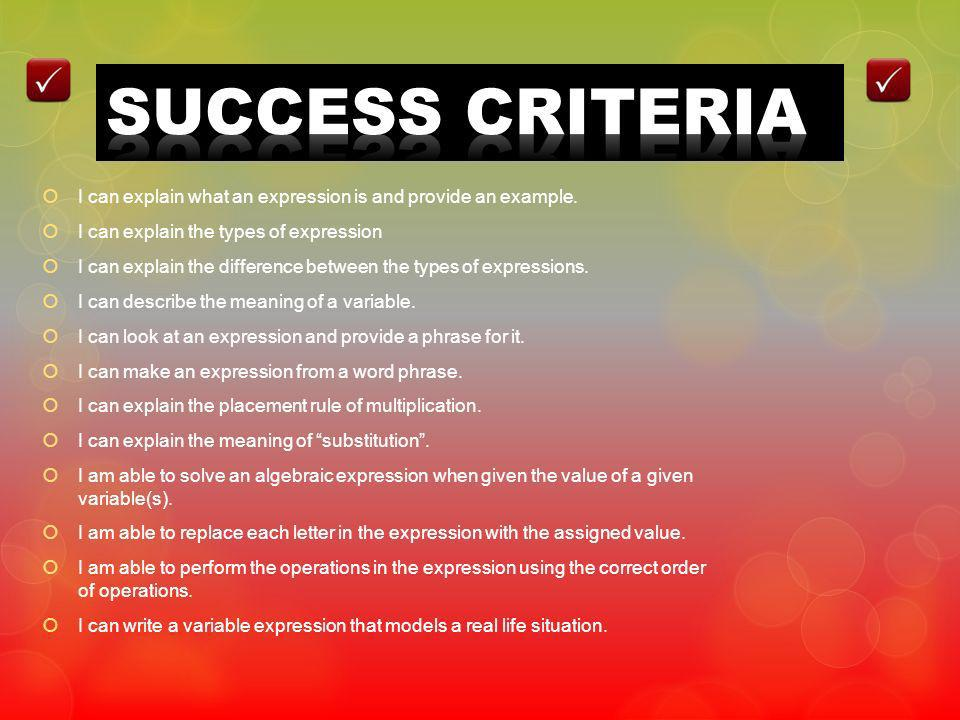 SUCCESS CRITERIA I can explain what an expression is and provide an example. I can explain the types of expression.