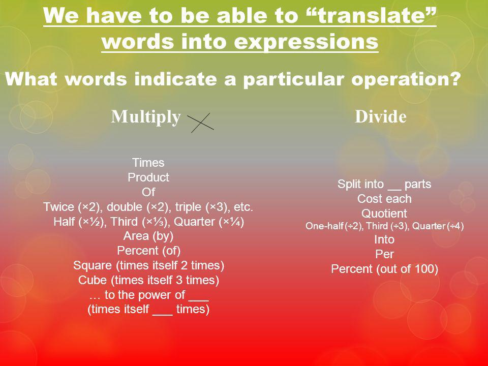 We have to be able to translate words into expressions