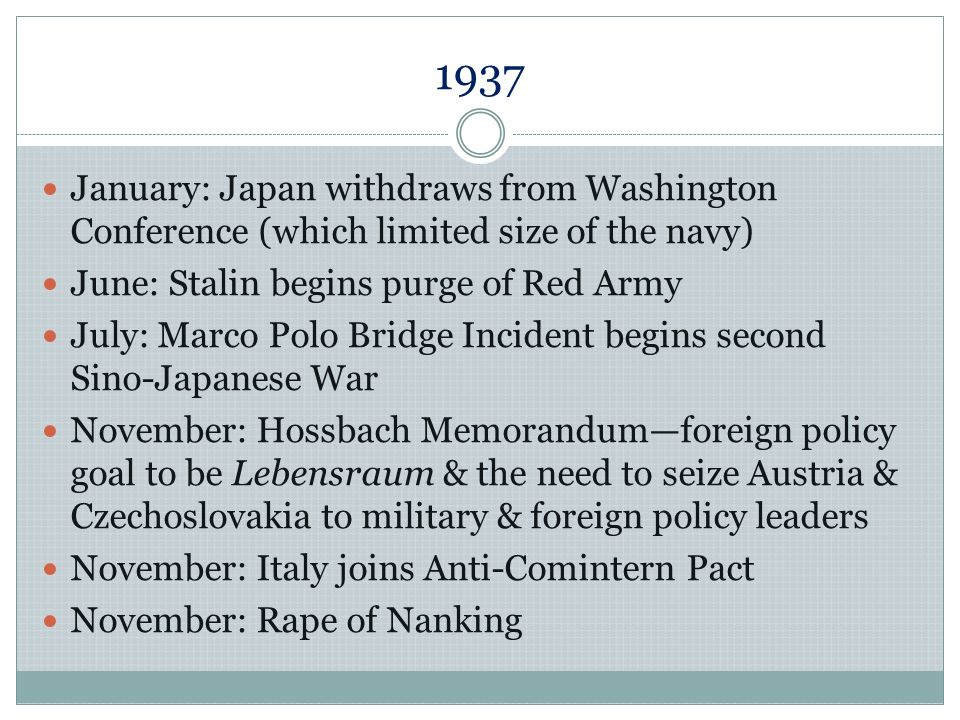 1937 January: Japan withdraws from Washington Conference (which limited size of the navy) June: Stalin begins purge of Red Army.