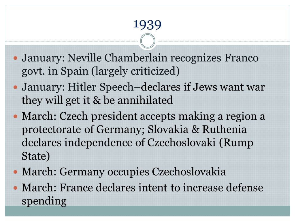 1939 January: Neville Chamberlain recognizes Franco govt. in Spain (largely criticized)