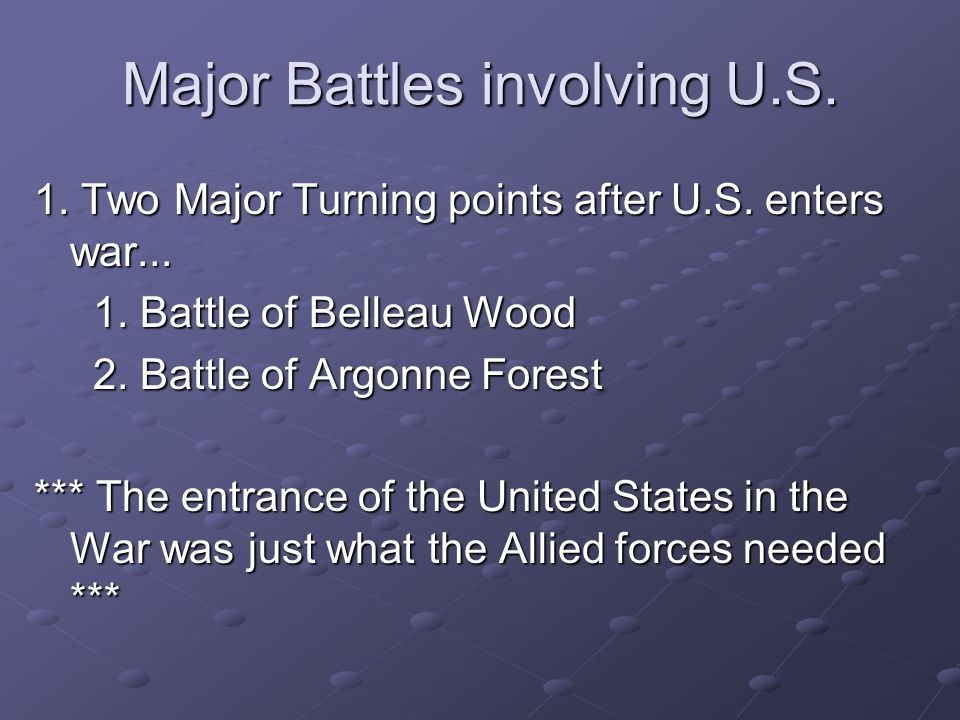 Major Battles involving U.S.