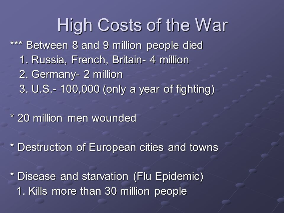 High Costs of the War *** Between 8 and 9 million people died