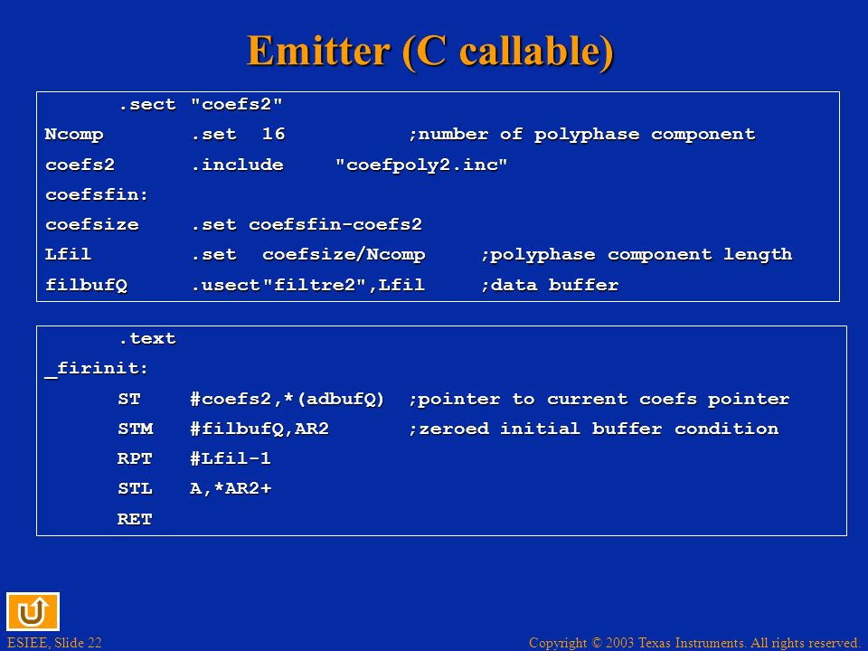 Emitter (C callable) .sect coefs2