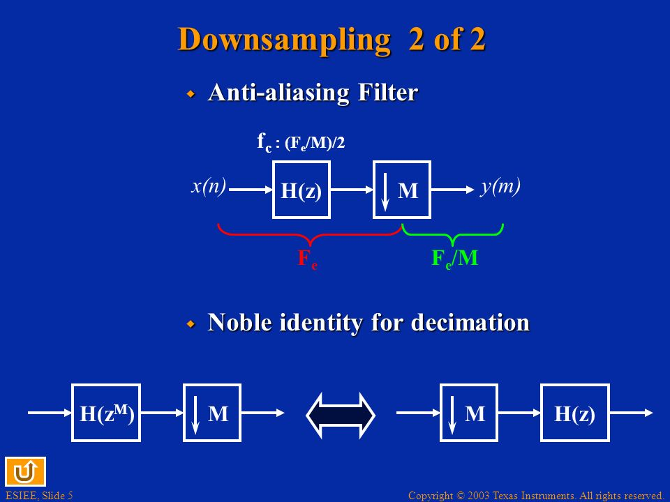 Downsampling 2 of 2 Anti-aliasing Filter Noble identity for decimation