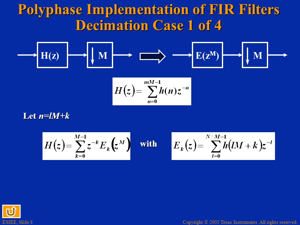 Polyphase Implementation of FIR Filters Decimation Case 1 of 4