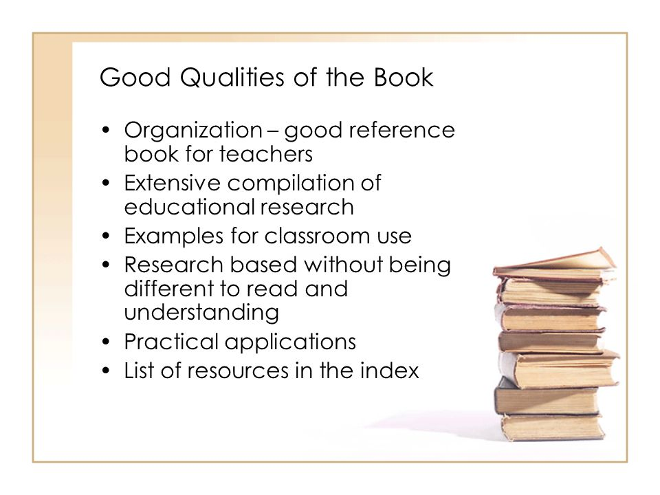 Good Qualities of the Book