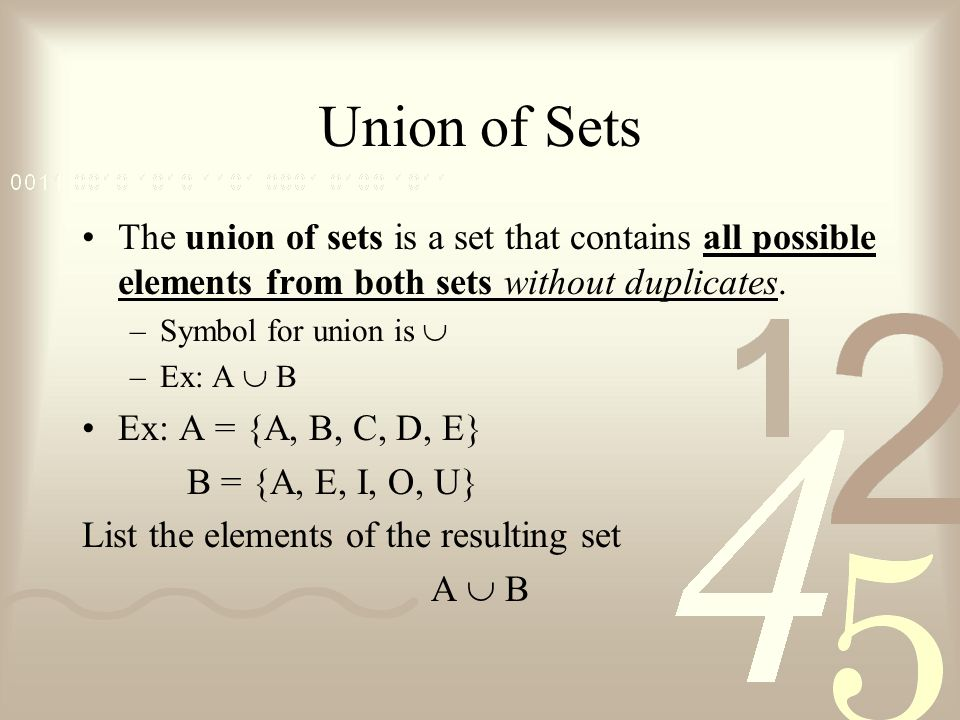 Union of Sets The union of sets is a set that contains all possible elements from both sets without duplicates.