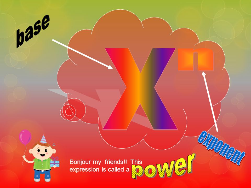 base X n exponent power Bonjour my friends!! This expression is called a