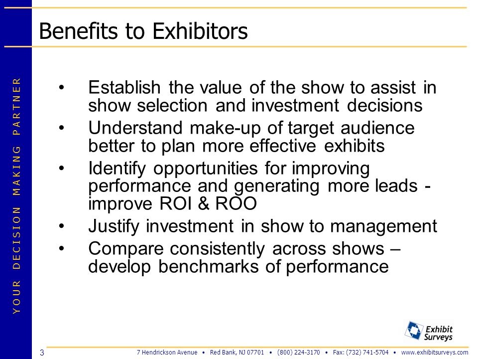 Benefits to Exhibitors