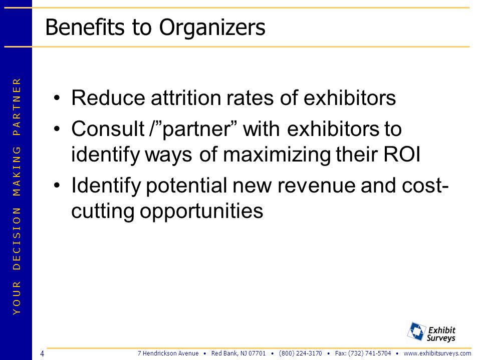 Benefits to Organizers