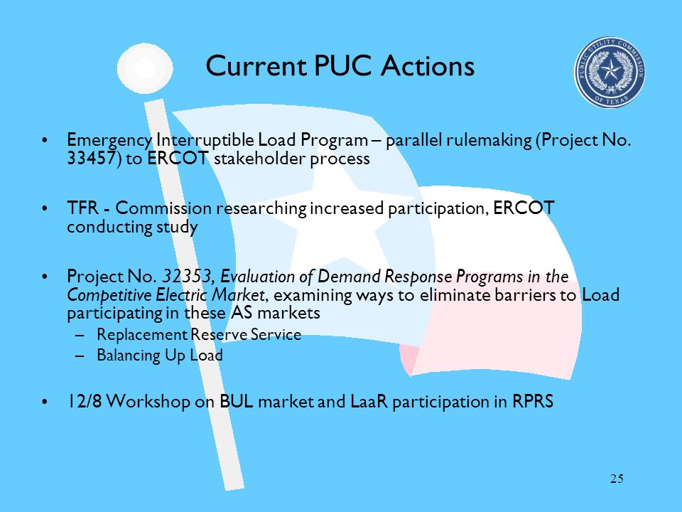 Current PUC Actions Emergency Interruptible Load Program – parallel rulemaking (Project No ) to ERCOT stakeholder process.