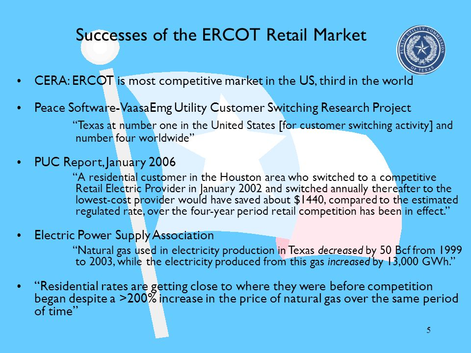 Successes of the ERCOT Retail Market