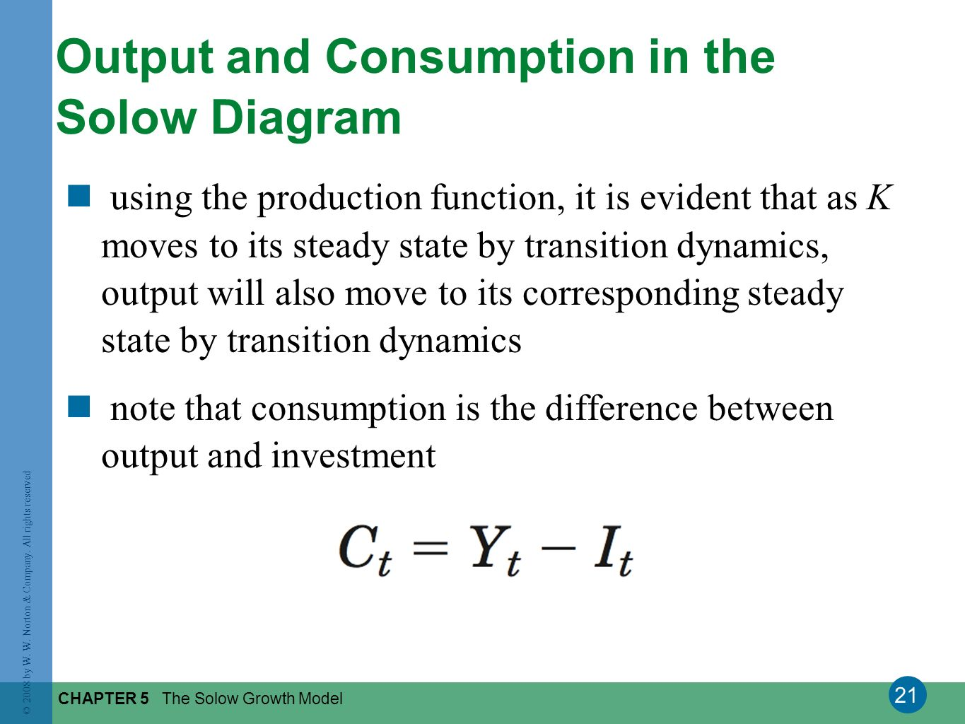 Output and Consumption in the Solow Diagram