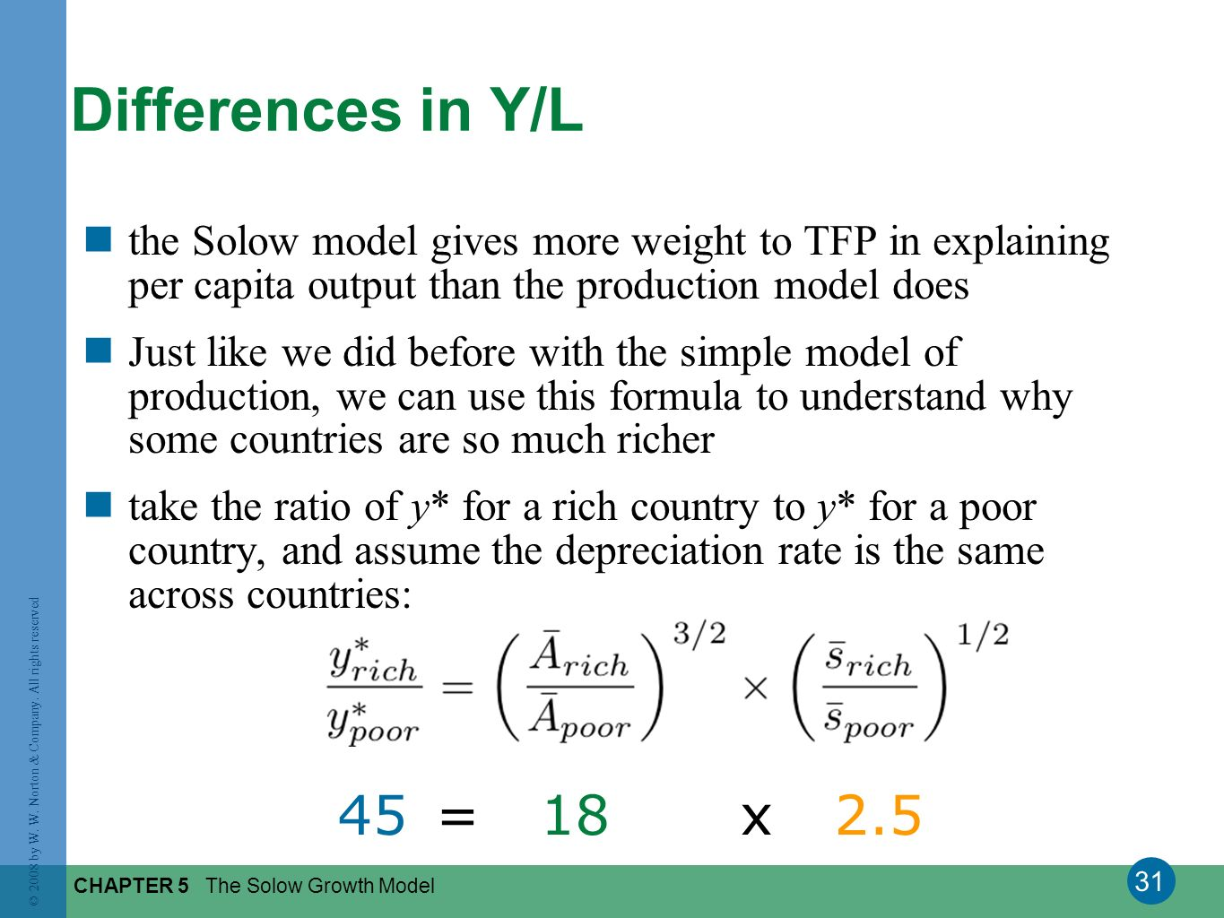 Differences in Y/L the Solow model gives more weight to TFP in explaining per capita output than the production model does.
