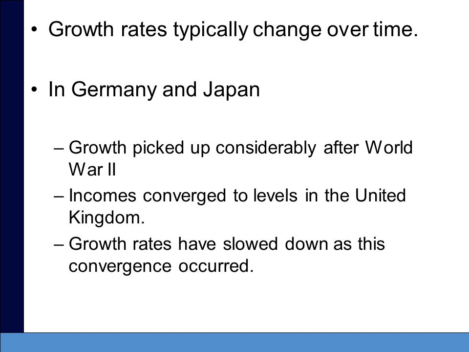 Growth rates typically change over time. In Germany and Japan