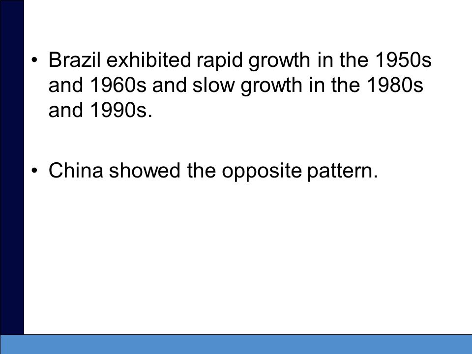 Brazil exhibited rapid growth in the 1950s and 1960s and slow growth in the 1980s and 1990s.