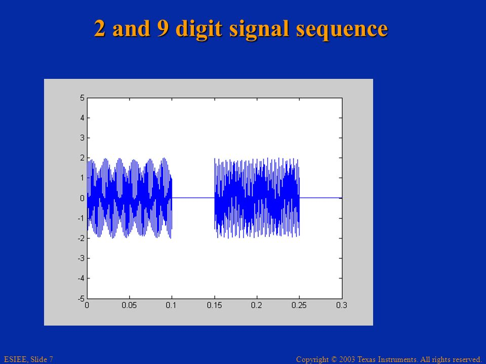 2 and 9 digit signal sequence
