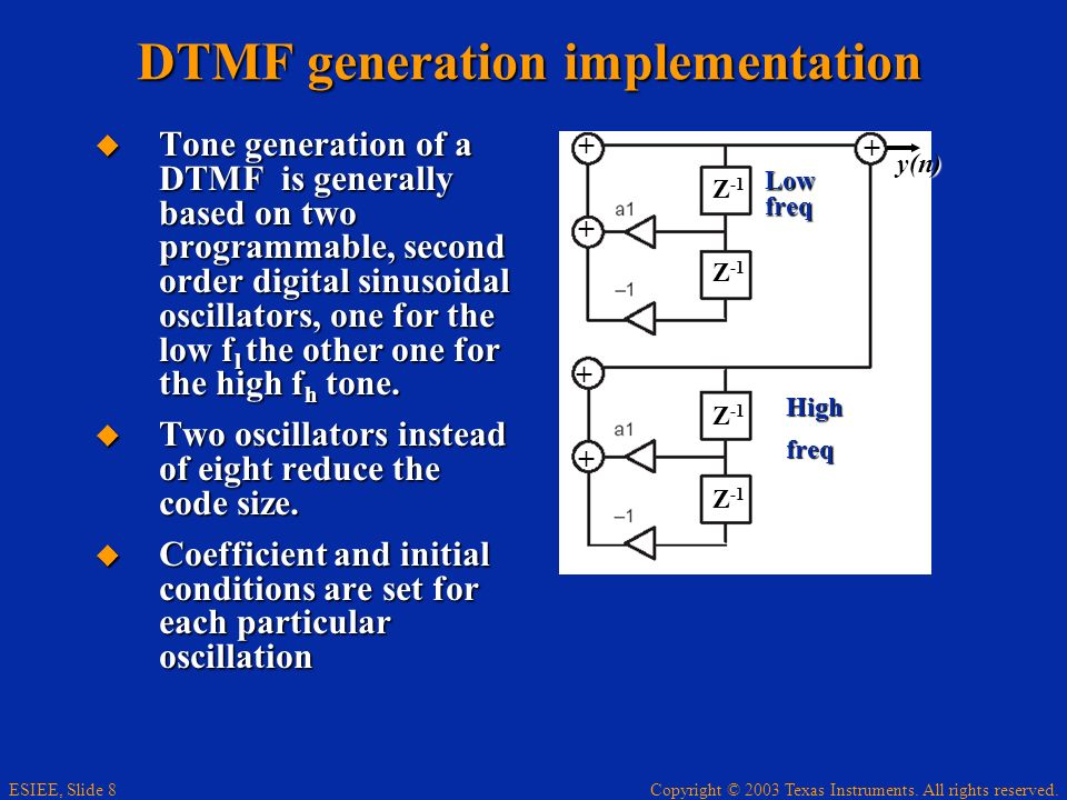 DTMF generation implementation