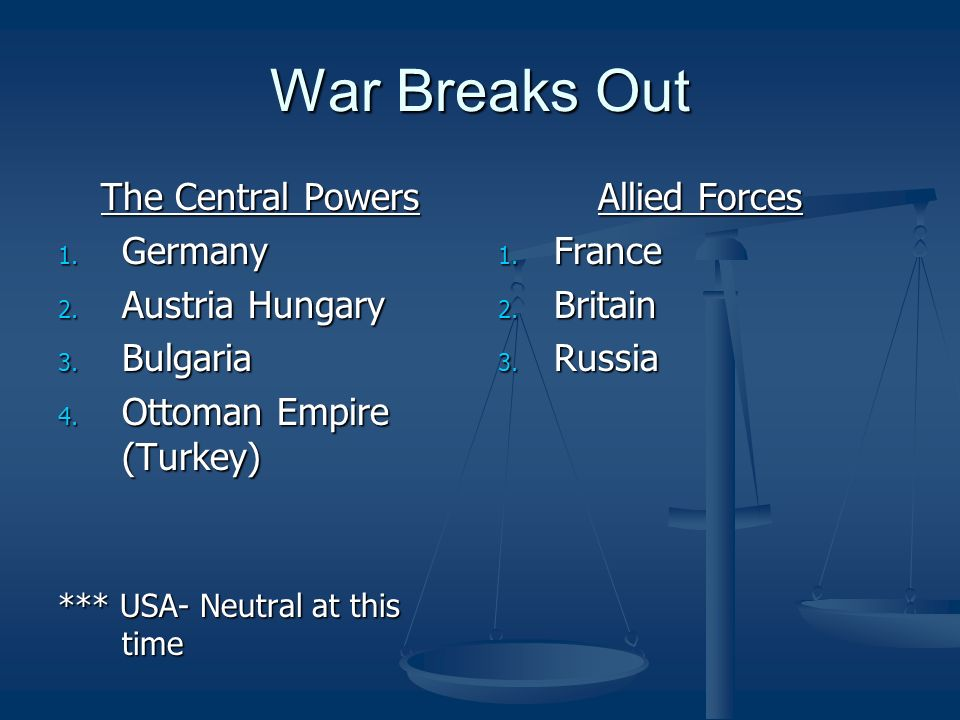 War Breaks Out The Central Powers Germany Austria Hungary Bulgaria