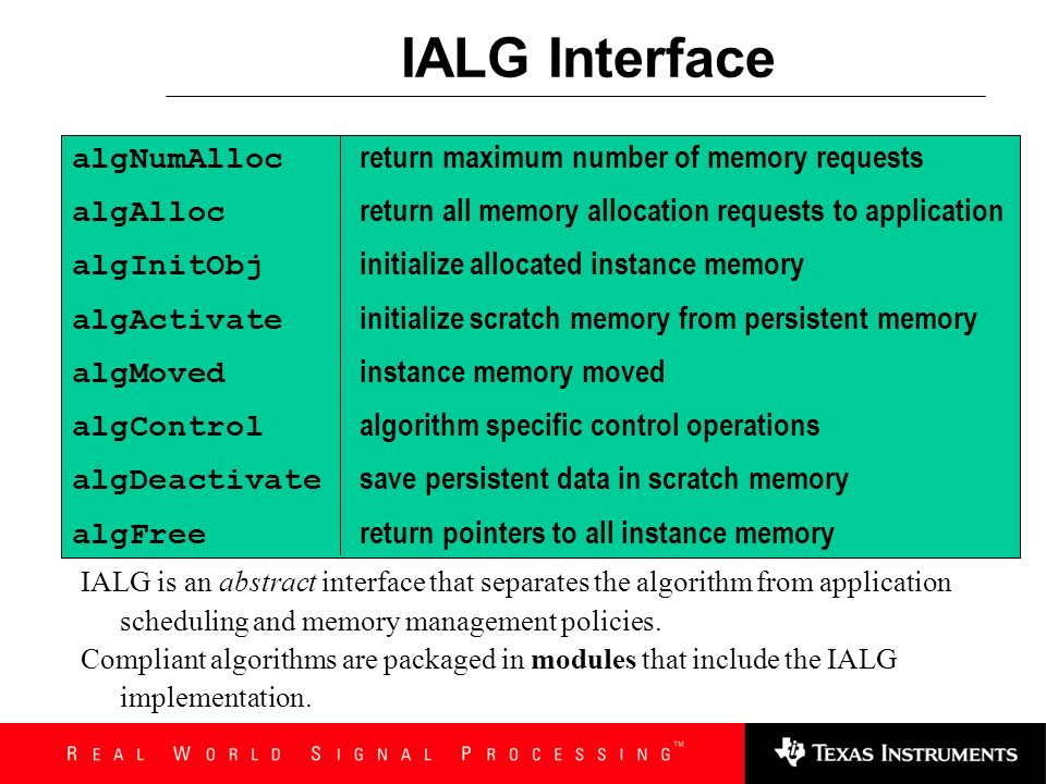 IALG Interface algNumAlloc return maximum number of memory requests