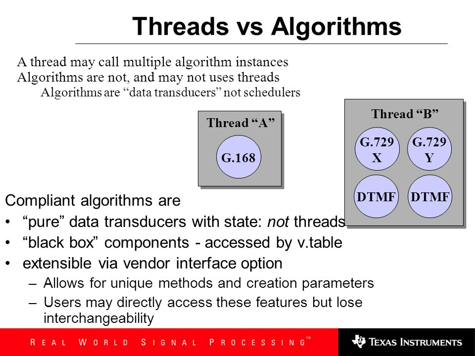 Threads vs Algorithms Compliant algorithms are