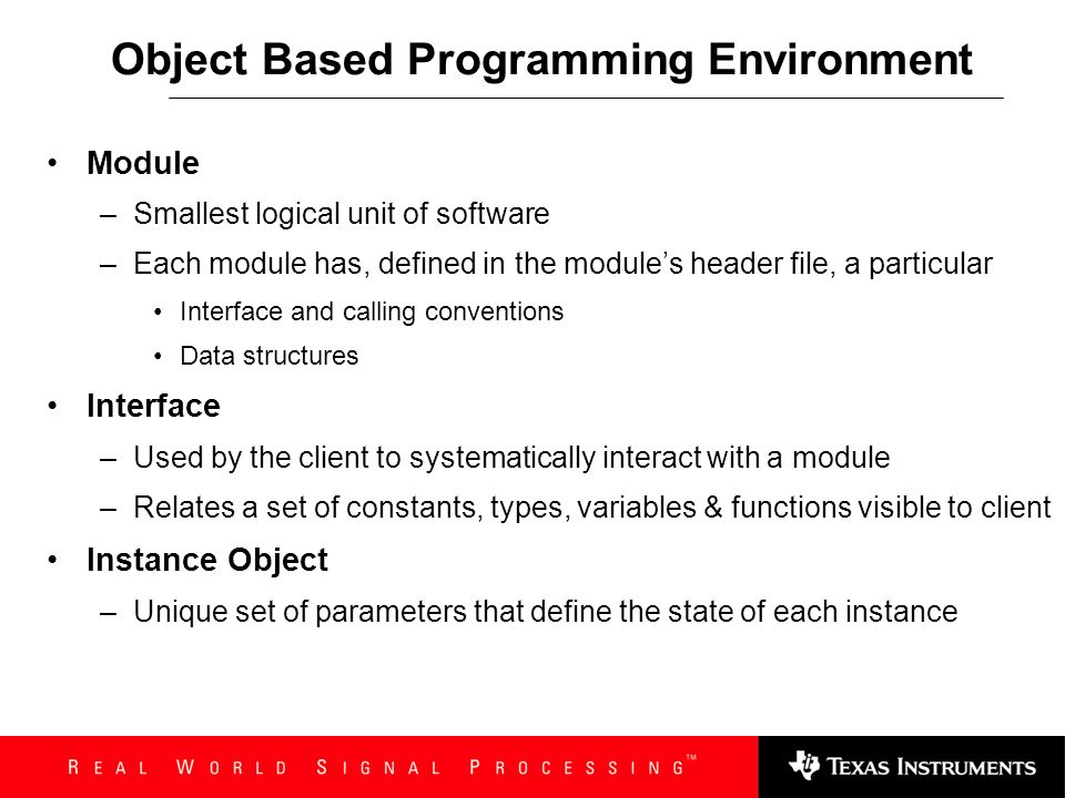Object Based Programming Environment