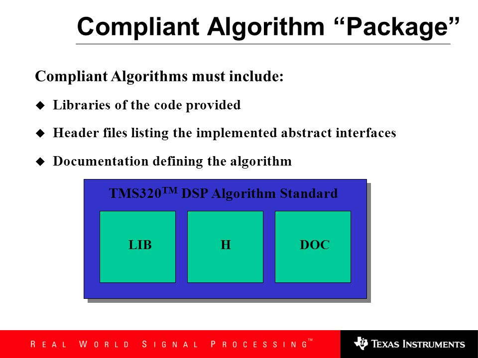 Compliant Algorithm Package