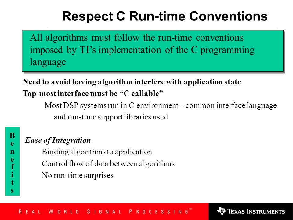 Respect C Run-time Conventions