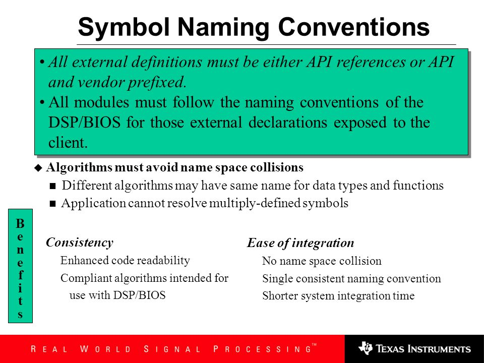 Symbol Naming Conventions