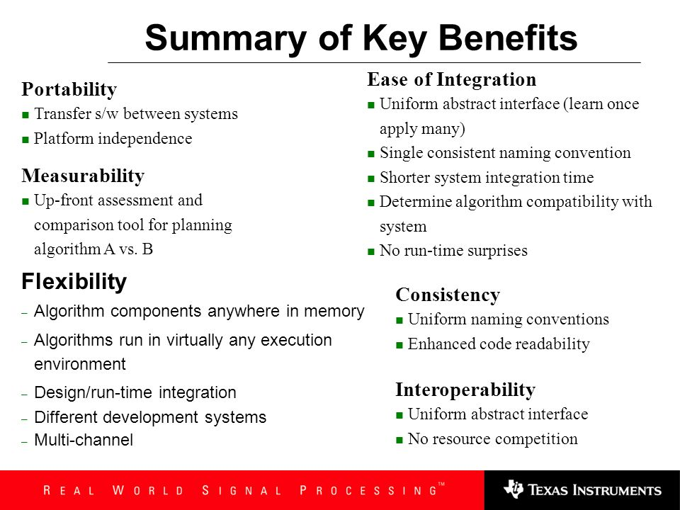 Summary of Key Benefits