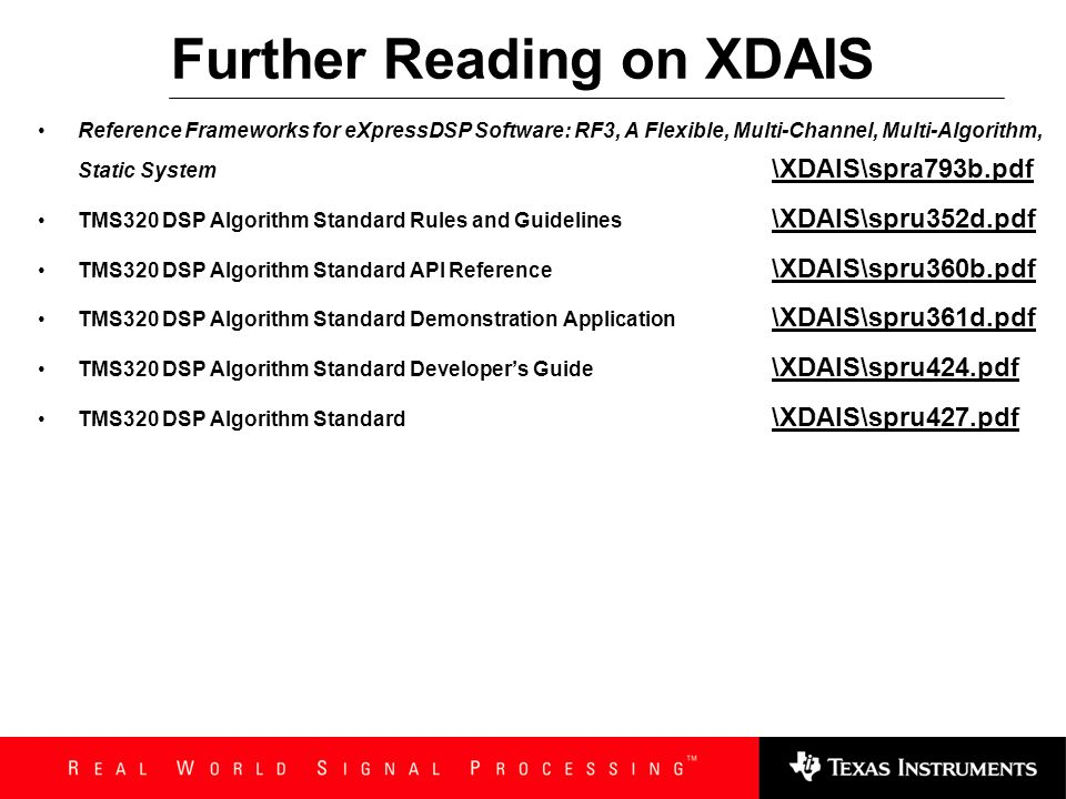Further Reading on XDAIS