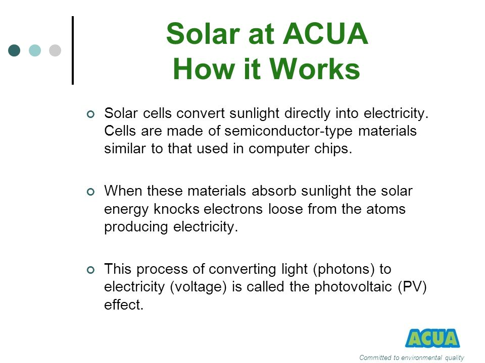 Solar at ACUA How it Works