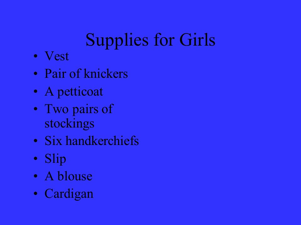 Supplies for Girls Vest Pair of knickers A petticoat