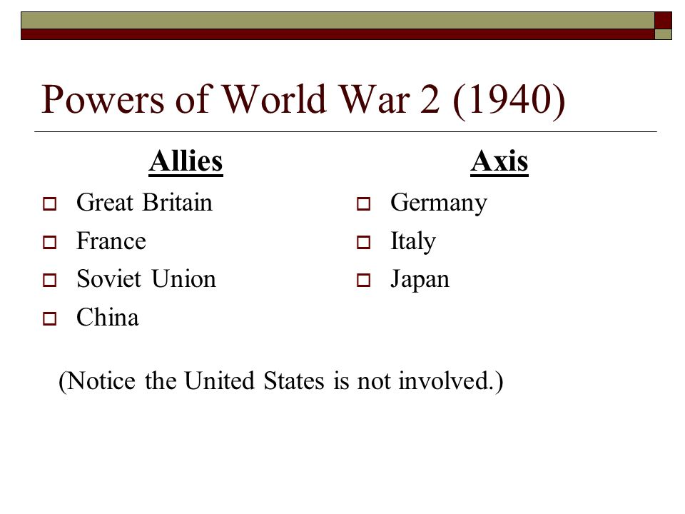 Powers of World War 2 (1940) Allies Axis Great Britain France