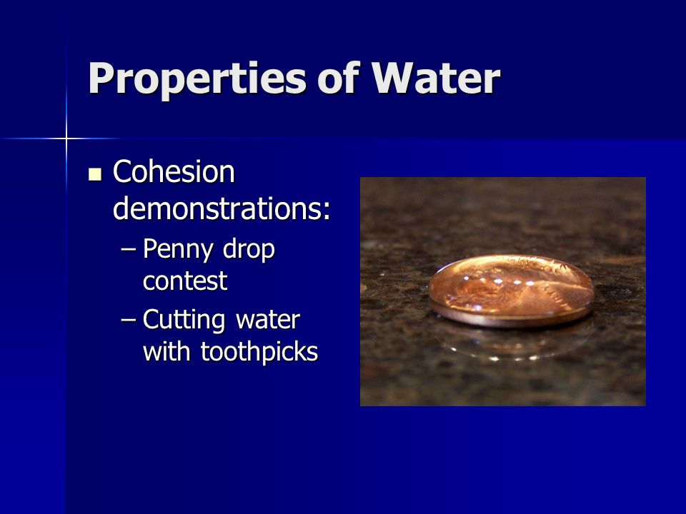 Properties of Water Cohesion demonstrations: Penny drop contest