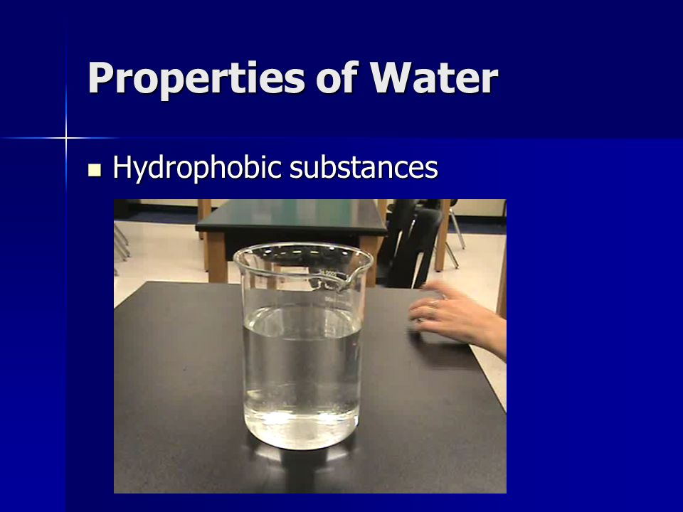 Properties of Water Hydrophobic substances