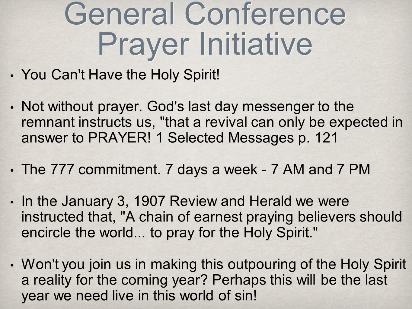 General Conference Prayer Initiative