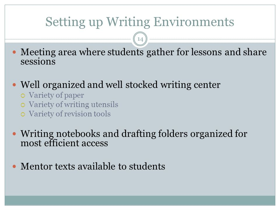 Setting up Writing Environments