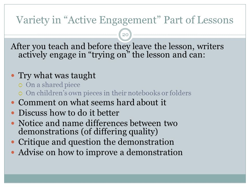Variety in Active Engagement Part of Lessons