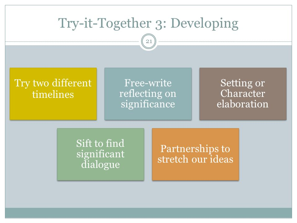 Try-it-Together 3: Developing
