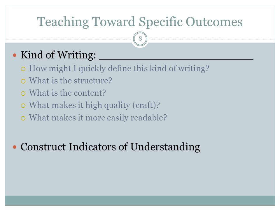 Teaching Toward Specific Outcomes